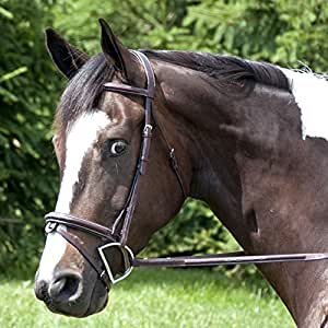 Exselle Elite High Raised Fancy Stitched Bridle, Full, Dark Havana
