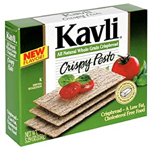 Kavli Crispbread, Crispy Pesto, 5.29-Ounce Boxes (Pack of 12)