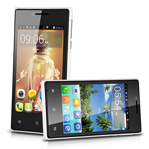 4'' Cubot Gt72+ Dual Core Android 4.4 Kitkat 3G Smartphone Mtk6572 4G Rom Dual Sim Cellphone Wifi (White)