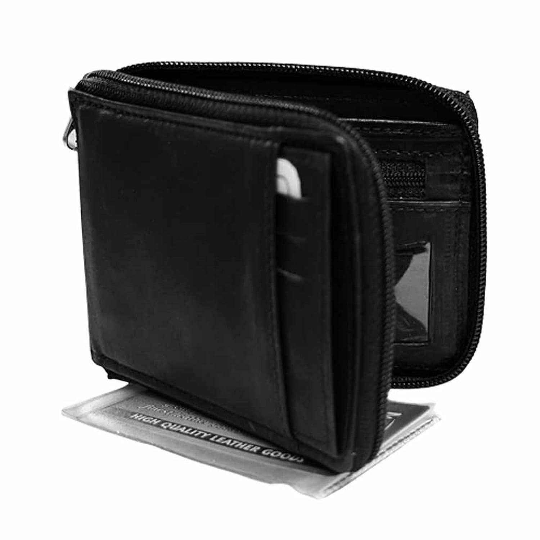 Black Leather Wallet For Men Leather Men's Zipper Wallet