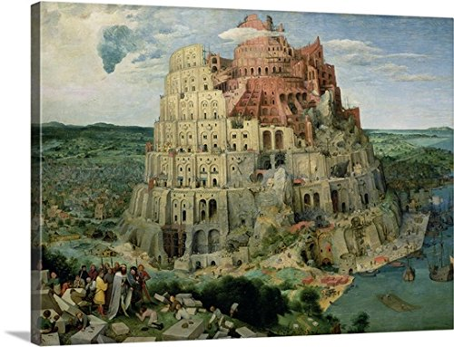 Pieter the Elder (1525-1569) Bruegel Premium Thick-Wrap Canvas Wall Art Print entitled Tower of Babel, 1563 (oil on panel) (for details see 93768-69, 186437-186438)