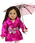 18 Inch Doll Polka Doll Umbrella, Open & Close Pink & White Polka Dot Umbrella Perfect for American Girl Dolls & More!