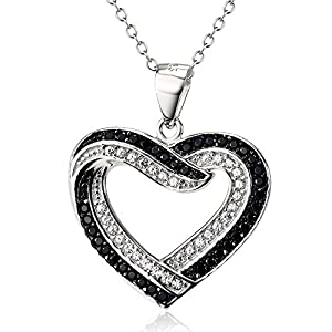 Two Tone 925 Sterling Silver Love Symbol Heart Shaped Charm with CZ Rolo Chain Necklace, 18