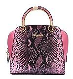 Vogue Nation Imported Snake-Print Pink Tote Bag