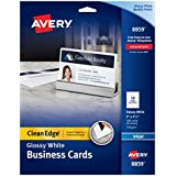 Avery Ink Jet One-Side Printable Clean Edge Business Cards, White, One-Side Glossy, Pack of 200 (8859)