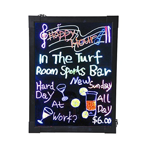 "16""X 12"" Led Flashing Illuminated Erasable Neon Message Writing Board Menu Sign, 7 Colors Of Rgb, 28 Flashing-Mode Remote Control+ Metal Chain For Hanging Up+ Washable Eraser Cloth+ Usb Controler (Us Seller)"