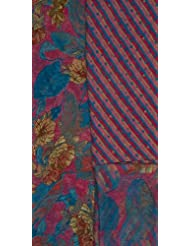 Exotic India Pink And Blue Salwar Kameez Fabric With Printed Flowers - Pink