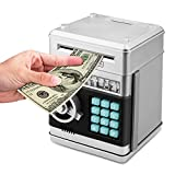 Zonkin Cartoon Electronic ATM Password Piggy Bank Cash Coin Can Auto Scroll Paper Money Saving Box Gift For Kids (silvery) (Color: Silvery)