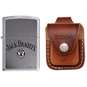 Zippo 5726 Classic Jack Daniels Old No.7 Brand Brushed Chrome Finish Lighter with Zippo Brown Leather Loop Pouch
