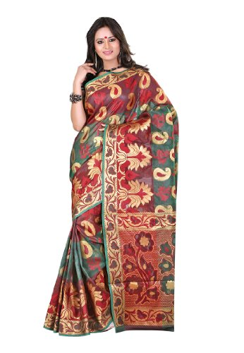 Fabdeal Indian Wear Banarasi Cotton Brown Printed Saree-Pbbsr8944Mgd (multicolor)