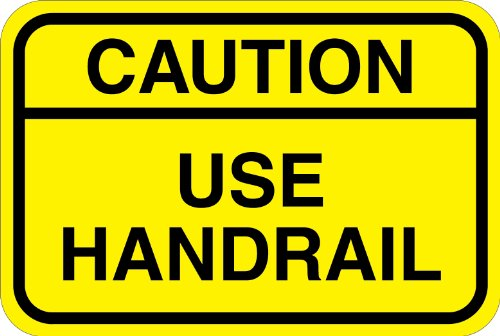 Caution Use Handrail - Self Adhesive Safety Sign - 250 x 166mm