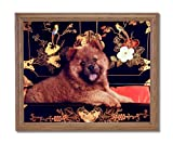 Chow Puppy Dog Kids Room Animal Pet Home Decor Wall Picture Oak Framed Art Print