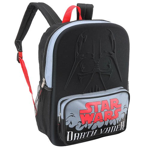 "Star Wars 16"" Backpack Darth Vader Front Pocket with Star Wars in Red"