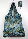 Trendy Shopping Tote Bag - Blue Beige Paisley Pattern (S7)