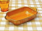 アメ釉ライン 長角グラタン皿