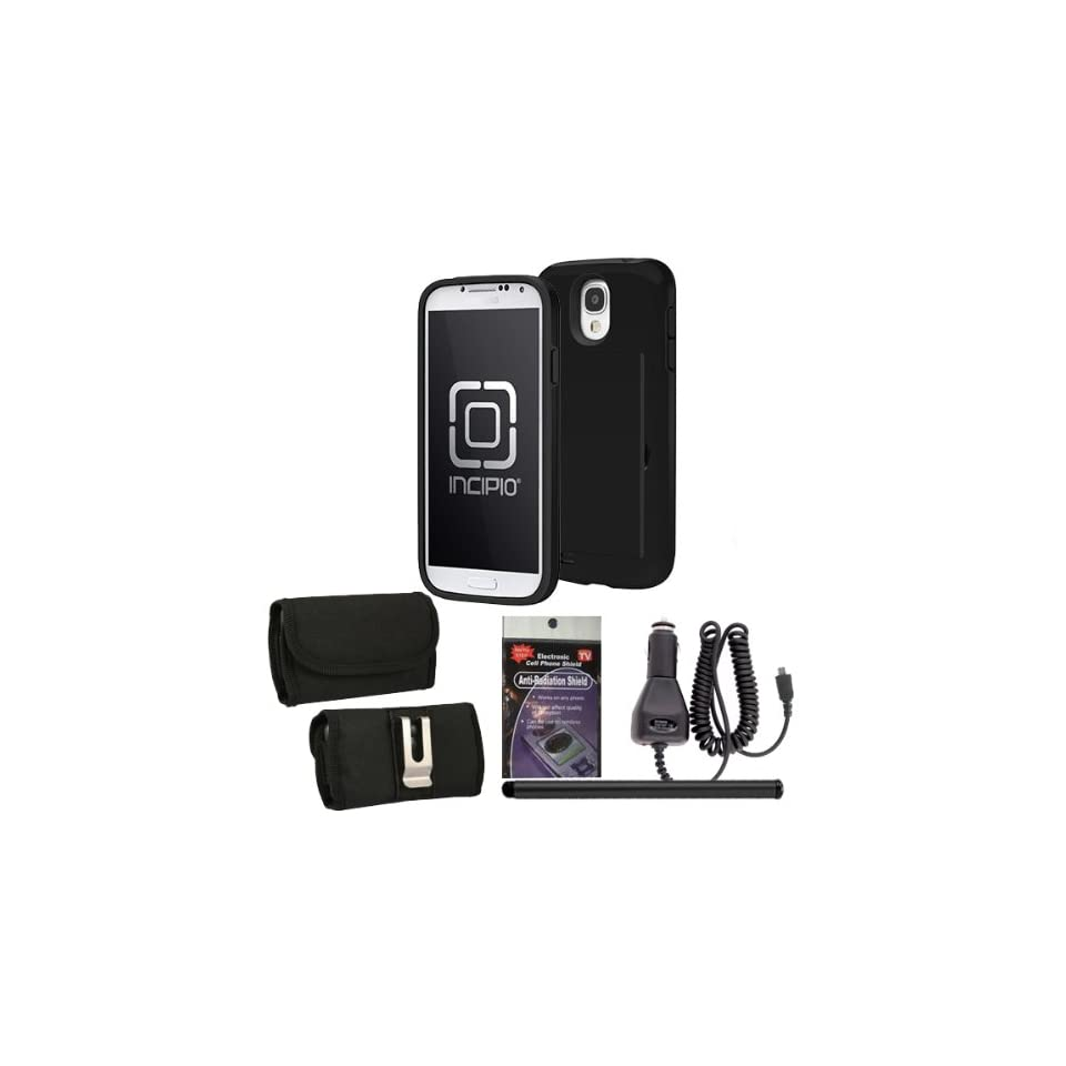 Incipio sa 399 Black Stowaway Case for Samsung Galaxy S4 with Horizontal Canvas case, Car Charger, Stylus Pen and Radiation Shield. Perfect for storing your Cash and Credit Cards. Cell Phones & Accessories