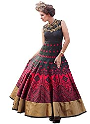 Rozdeal New Black & Pink Banglori Silk Designer Gown