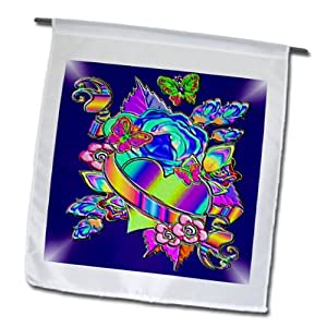 fl_53896_1 Spiritual Awakenings Abstracts - Digital manipulation of a heart, roses and tattoo banner in foil print - Flags - 12 x 18 inch Garden Flag