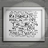 `Noir Paranoiac` Art Print - RADIOHEAD - The Bends - Signed & Numbered Limited Edition Typography Wall Art Print - Song Lyrics Mini Poster