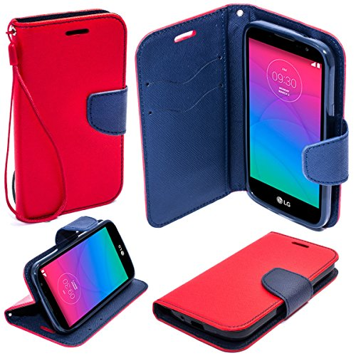 Moozy due colori Fancy Diary Custodia Flip cover con appoggio / cinturino / supporto del telefono in silicone per LG Spirit H440N / H420 Rosso / Blu