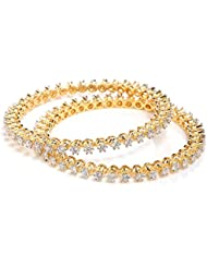 Traditional Pretty AD American Diamond Pair Of Bangles 2.6, 2.8, 2.10 By GoldNera For Girls/Women Indian