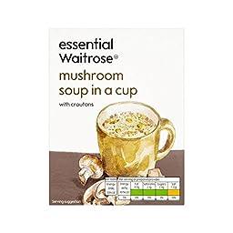 Mushroom Cup Soup essential Waitrose 4 x 24g - Pack of 4