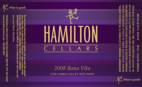 """2008 Hamilton Cellars """"Bona Vita"""" Bordeaux Red Blend 750 Ml"""