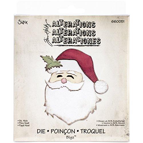 Fustella fustelle Bigz fustella viso faccia Babbo Natale Santa claus decorazioni natalizie di Tim Holtz 658768 Big Shot Sizzix per feltro pelle lamina tessuto cartoncino gomma piuma Ellison