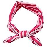 Banda ancha en elastano, diseño de rayas, color rosa oscuro y rosa claro