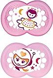 MAM - Conjunto de 2 chupetes que brillan en la oscuridad, con esterilizable estuche de viaje, 12 meses, Rosa (Rosa)