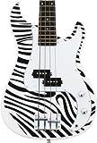 crescent 46 inch zebra print premium electric bass guitar with accessories strap. Black Bedroom Furniture Sets. Home Design Ideas