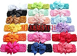 Interchangeable Baby & Newborn Bows and Headbands Set by LASASA (36 Pack) - Attach Bow to Super Stretchy Headband or Use Separately! Great For Babies and Kids - Boutique quality!