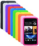 Poposh 10in1 10x Soft Rubber Silicone Cover Case Skin Shell for HTC ONE M7 (Black White Orange Green Pink Yellow Purple Blue Red)