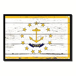 Rhode Island State Shabby Chic Flag Art Canvas Print Custom Picture Frame Office Wall Home Decor Gift Ideas, 19\