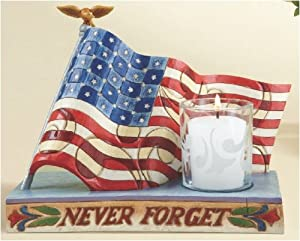 Jim Shore Heartwood Creek from Enesco Memorial Flag Candleholder 6.5 IN