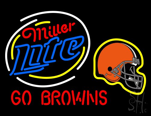 "Miller Lite Cleveland Browns Outdoor Neon Sign 24"" Tall x 31"" Wide x 3.5"" Deep at Amazon.com"