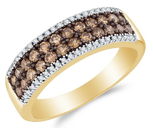 Size 7 - 14K Yellow And White Two 2 Tone Gold Prong Set Round Brilliant Cut Chocolate Brown And White Diamond Ladies Womens Wedding Band Or Anniversary Ring (.77 Cttw.)
