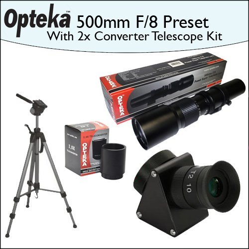 "Opteka 500Mm F/8 High Definition Preset Telephoto Lens + Lens Converter To Telescope + 2X Teleconverter Kit + Opteka 70"" Professional Tripod"