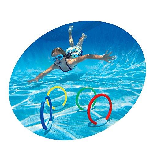 Color Baby - Juego de 4 anillas acuáticas de buceo, 12 cm (55501)