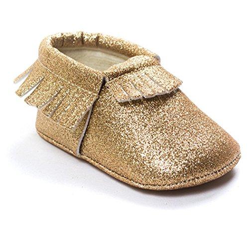 Kingko® Kingko® Moda Culla Scarpe nappe paillettes Scarpe suola infantile delicatamente delle scarpe da tennis casuali (4~8 mesi, Oro)