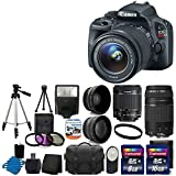Canon EOS Rebel SL1 18.0 MP CMOS Digital SLR with EF-S 18-55mm IS STM Lens With EF 75-300mm f 4-5.6 III Telephoto Zoom Lens + 58mm 2x Professional Lens +High Definition 58mm Wide Angle Lens + Auto Flash + Tripod +Uv Filter Kit with 24GB Complete Deluxe Accessory Bundle