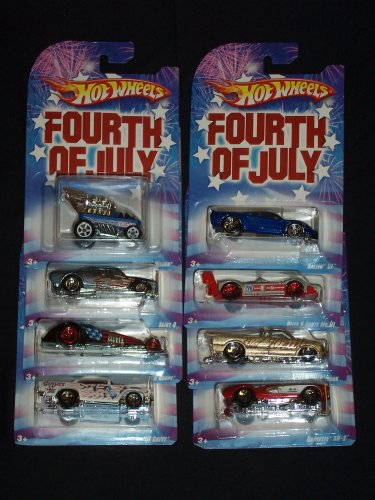 Hot Wheels 2008 Fourth Of July Series COMPLETE SET OF 8 VEHICLES Riley & Scott MK III / Hammered Coupe / `57 Chevy / Vairy 8 / Saleen S7 / Draggin Wagon / Corvette SR-2 / and Chevy S-10 Pro Stock Wal-Mart Exclusive