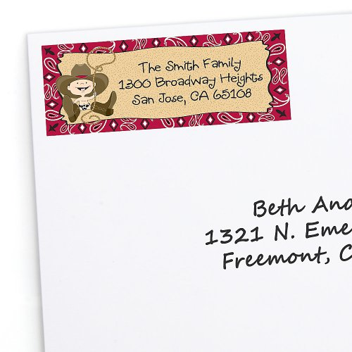 Little Cowboy - Personalized Birthday Party Return Address Labels - 30 Ct front-700170