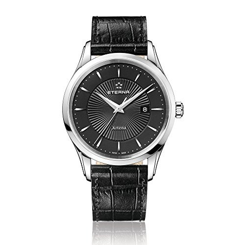 Eterna Artena Men's Quartz Watch with Black Dial Analogue Display and Black Leather Strap 2520.41.41.1258