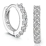 Sannysis 1Pair Beautiful Silvering Rhinestones Hoop Stud Earrings For Women-About an Inch