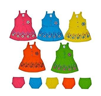 Sathiyas Baby Girls Dresses (Pack of 5) (0-6 Months) (Multi1 (TK153))