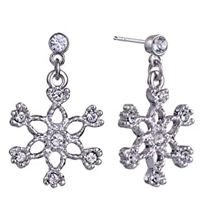 Pugster Xmas Gift Clear White Crystal Winter Snowflake Earrings