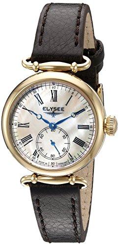 Elysee Cecilia Femme 30mm Noir Cuir Bracelet Minéral Verre Montre 38023