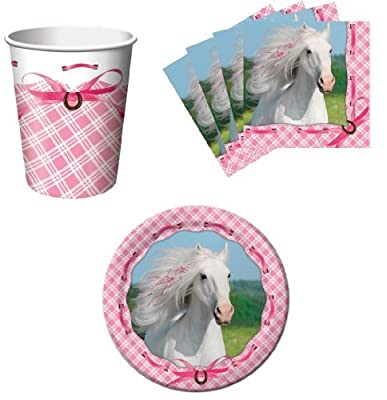 Heart My Horse Pink Birthday Party Supplies Set Plates Napkins Cups Kit for 16
