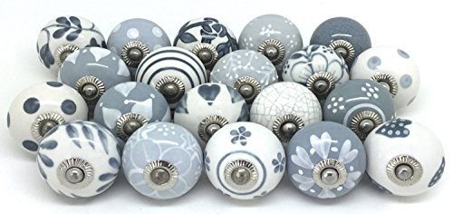 Zoya 10 Knobs Grey & White Hand Painted Ceramic Knobs Cabinet Drawer Pull (White Cabinet Knobs And Pulls compare prices)